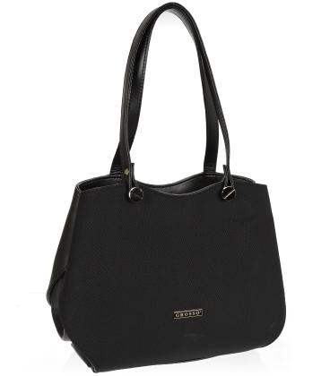 Černá elegantní kabelka s hadím vzorem V18SM079BLC - GROSSO