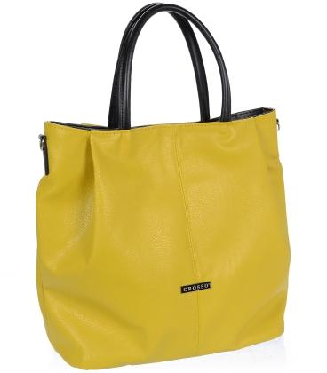 Hořčicová prostorná kabelka V18SM042YEL - GROSSO