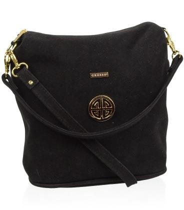 Čierna crossbody kabelka so zlatou aplikáciou C18SZ009BLC - GROSSO