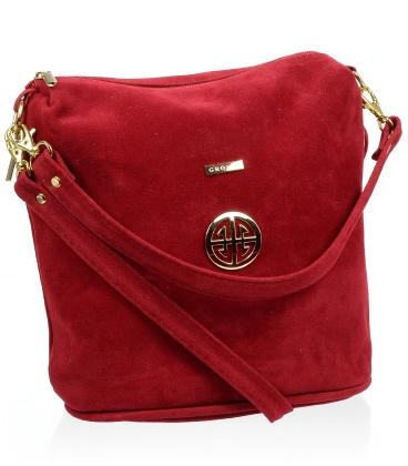 Červená crossbody kabelka so zlatou aplikáciou C18SZ009RED - GROSSO