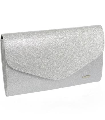 Stříbrná třpytivá společenská kabelka SP102 - Grosso