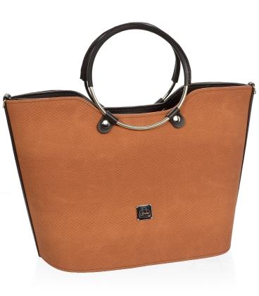 Hnědá elegantní vyztužená kabelka V18SM094BRW- GROSSO