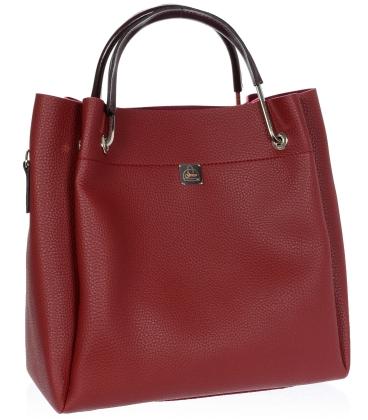 Tmavočervená elegantná kabelka V18SM085RED - GROSSO