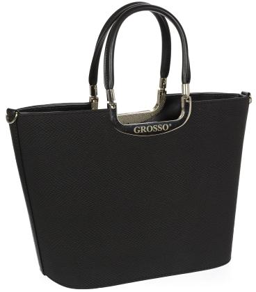Černá elegantní vyztužená kabelka V18SM002BLC - GROSSO