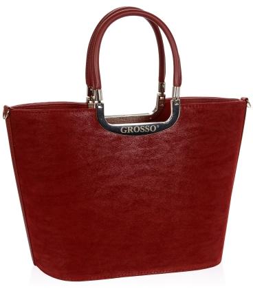 Vínová elegantní vyztužená kabelka V18SM002BOR - GROSSO