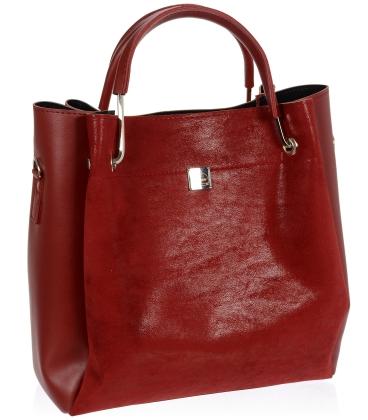 Tmavě červená semišová elegantní kabelka V18SM085RED - GROSSO