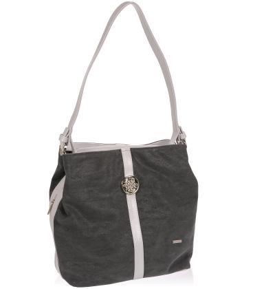 Šedá kabelka se stříbrnou aplikací V18SZ065GRY - GROSSO