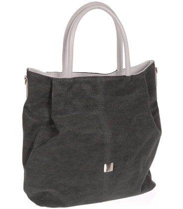 Tmavě šedá prostorná kabelka V18SM042GRY- GROSSO