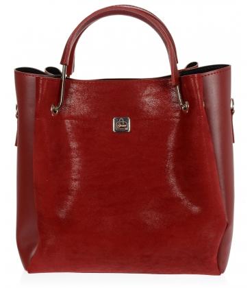 Tmavočervená semišová elegantná kabelka V18SM085RED - GROSSO
