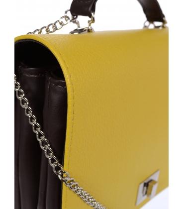 Žlto- čierna crossbody kabelka na striebornej retiazke C18SM063YEL - GROSSO