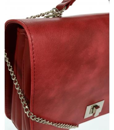 Červená crossbody kabelka na striebornej retiazke C18SM063RED - GROSSO