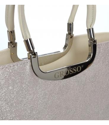 Béžovo- ružová trblietavá elegantná vystužená kabelka V18SM002BEI - GROSSO
