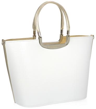 Bílá elegantní vyztužená kabelka se zlatým lemem V18SM002WHT - GROSSO