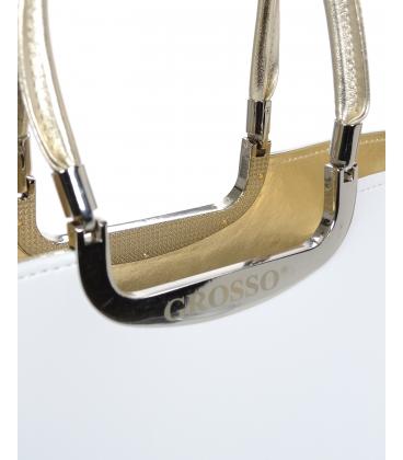 Biela elegantná vystužená kabelka so zlatým lemom V18SM002WHT - GROSSO