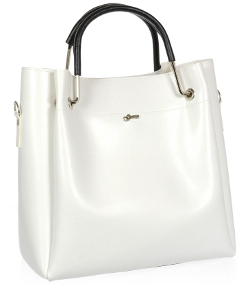 Biela elegantná kabelka s čiernymi rúčkami V18SM085WHT- GROSSO