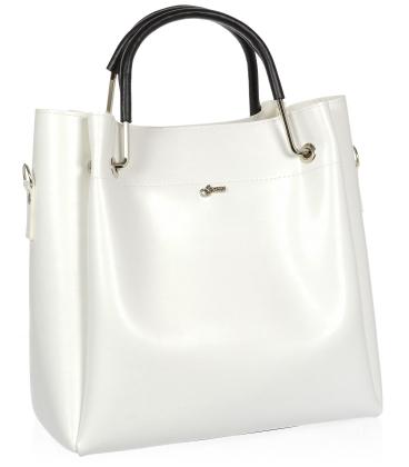 Bílá elegantní kabelka s černými ručkami V18SM085WHT- GROSSO