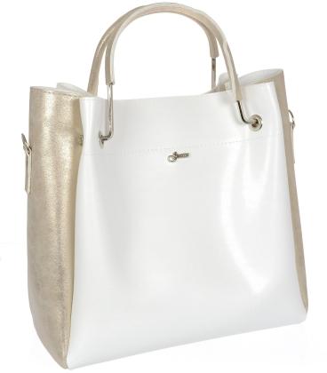 Bílo zlatá elegantní kabelka V18SM085WHT- GROSSO