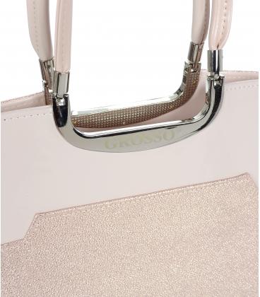 Ružová trblietavá elegantná kabelka V18SM084 - GROSSO
