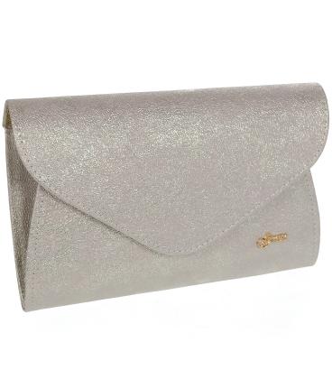 Ružovo-sivá perleťová listová kabelka s trblietkami S18SM004PNK - GROSSO