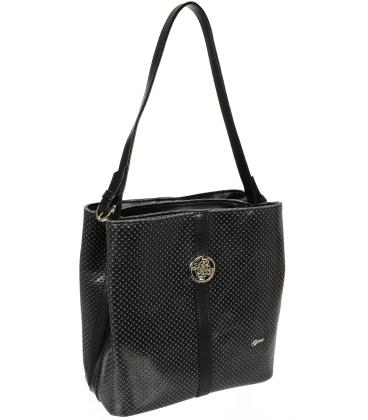 Čierna perforovaná kabelka so striebornou aplikáciou V18SM065BLC - GROSSO