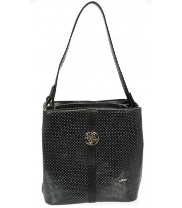 Fekete perforált táska ezüst kiegészítőkkel V18SM065BLC - GROSSO