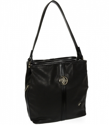 Čierna matná kabelka so striebornou aplikáciou V18SM065BLC - GROSSO