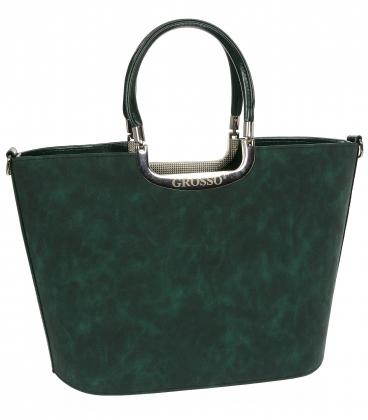 Zelená elegantná vystužená kabelka s potlačou V18SM002 - GROSSO