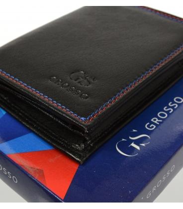 Pánska kožená čierna peňaženka s farebným prešívaním AM-10-047 BLACK