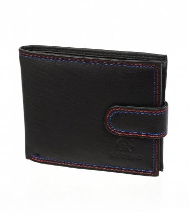 Pánska kožená čierna peňaženka s farebným prešívaním a bočným zapínaním AM-10-048 BLACK