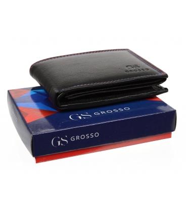 Pánská kožená černá peněženka AM-10-046 BLACK