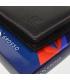 Pánska kožená čierna peňaženka s farebným prešívaním AM-10-049 BLACK