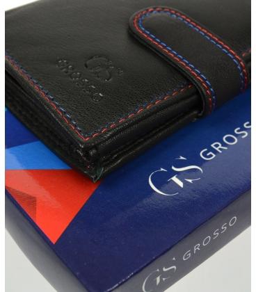 Pánska kožená čierna peňaženka s farebným prešívaním AM-10-050 BLACK