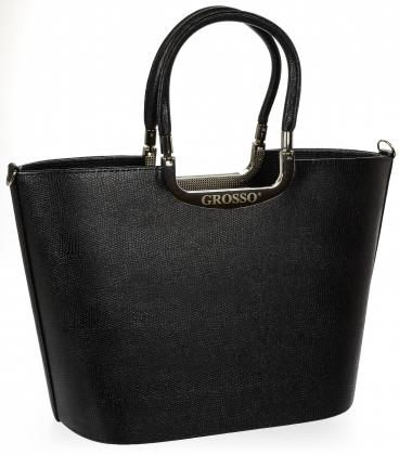 Čierna elegantná vystužená kabelka s jemnou potlačou V18SM002 - GROSSO