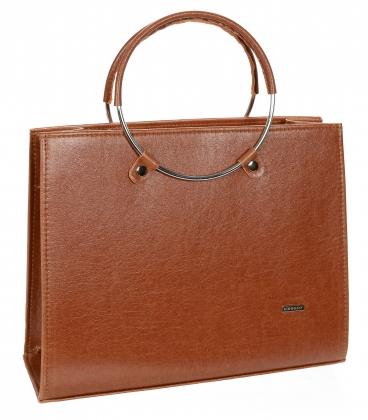 Hnedá obdĺžniková elegantná kabelka V18SM083BROWN - GROSSO