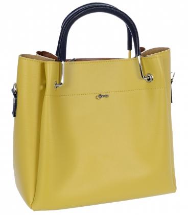 Žltá elegantná kabelka s modrými rúčkami V18SM085- GROSSO