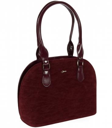 Bordová oblá kabelka s dlhými ramienkami 19V019- Grosso