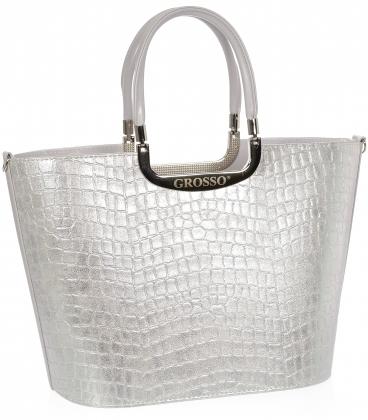 Srtieborná elegantná vystužená kabelka s potlačou V18SM002SIL - GROSSO