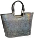 Metalická elegantná vystužená kabelka s hadím vzorom V18SM002SIL - GROSSO