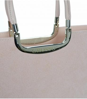 Bledo ružová elegantná vystužená kabelka s trblietkami V18SM002 - GROSSO