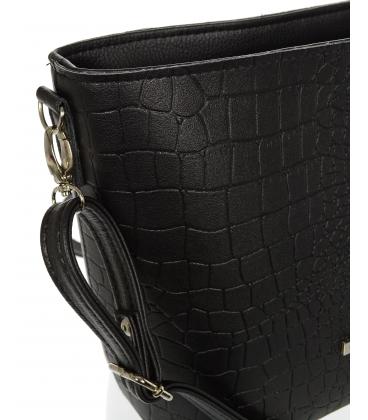 Čierna väčšia crossbody kabelka s jemným vzorom C18SM067 - Grosso