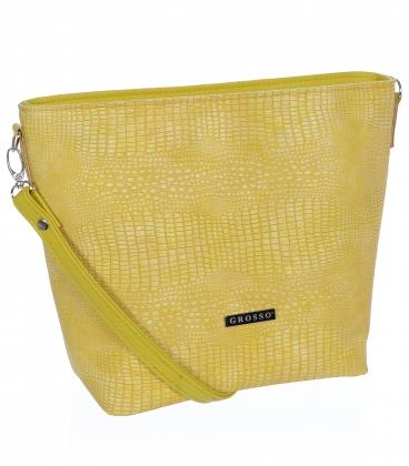 Žltá väčšia crossbody kabelka s jemným vzorom C18SM067 - Grosso