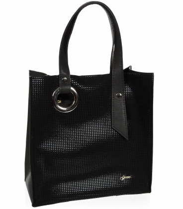 Černá obdélníková shopper kabelka 19V004- Grosso
