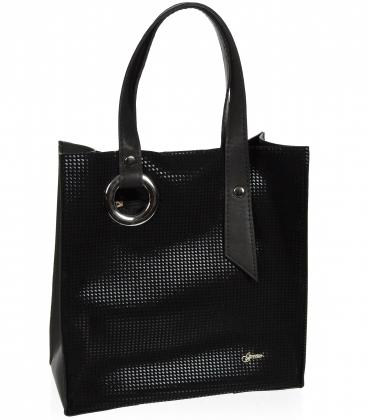Čierna obdĺžníková shopper kabelka so strieborným efektom 19V004- Grosso