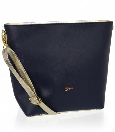 Modro-zlatá väčšia crossbody kabelka C18SM067 - Grosso