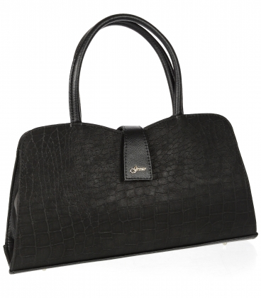 Černá oblá kabelka s dlouhými ramínky 19V019- Grosso