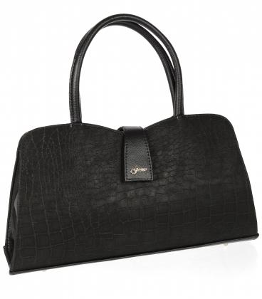 Čierna obdlžniková elegantná kabelka s jemným vzorom 19V021- Grosso