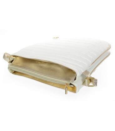 Bielo-zlatá metalická crossbody taška s prešívaním M188