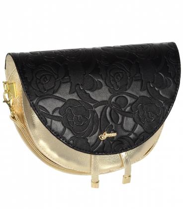 Čierno zlatá malá elegantná kabelka s jemným vzorom 20M007