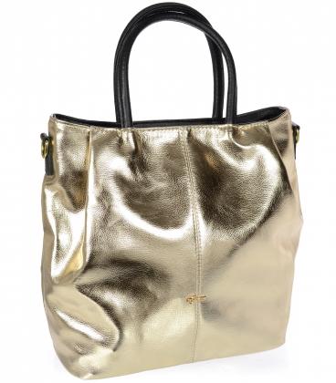 Zlatá priestranná kabelka s čiernymi rúčkami V18SM042YEL - GROSSO