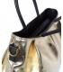 Zlatá prostorná kabelka s čiernými rukojeťmi V18SM042YEL - GROSSO